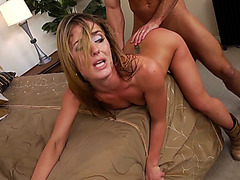 Naughty chick Sheena Shaw takes his massive rod doggy style