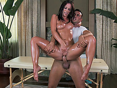 Jada Stevens gets fucked in the air then drops on her knees and swallows his pole