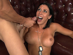 Rachel Starr works all over his rod until he busts giant load all over her face and tits