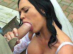 Horny bride Jasmine Jae gags herself on his giant dick outdoor