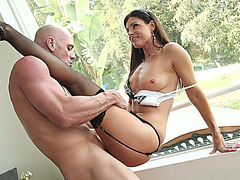 India Summer in a high heels and stockings getting her trimmed cunt pounded
