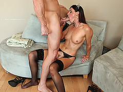 Sexy natural MILF India Summer sucks his cock and slides it deep in her twat