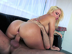 Big ass girl Nikki Delano plants her phat booty on his cock and rides