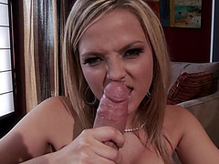 Hottest blonde Alexis Texas works over his wide cock orally