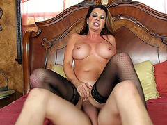 Horny mom Raquel Devine loves to ride young cock