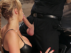 Nikki Benz unzips his pants and suck his cock smoothly