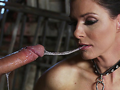 India Summer gags on his pole as her hands handcuffed behind her back