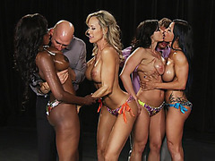 Diamond Jackson, Jewels Jade, Brandi Love and Kendra Lust teasing two guys