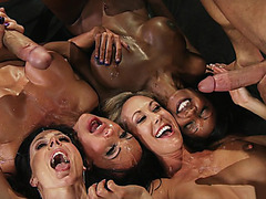 Diamond Jackson, Jewels Jade, Brandi Love and Kendra Lust receiving two cumshot