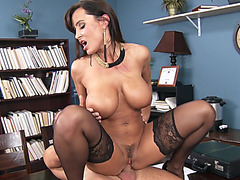 Lisa Ann rides him reverse cowgirl on the desk