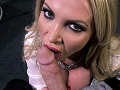Nikki Benz deepthroats and titty fucks his cock