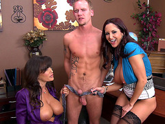 Lisa Ann and Ava Addams having fun with his cock