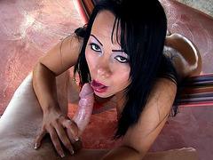 Paola sucking large shaft POV style