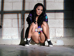 Hot asian bitch Asa Akira found a good place to piss
