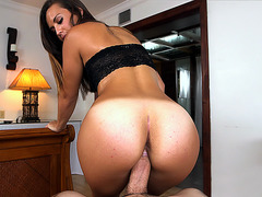 Kelsi Monroe sits on his pole and rides
