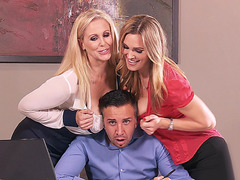 Juia Ann and Tanya Tate pressing their tits into his face