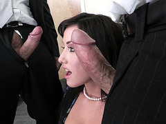 Jennifer White sucks two large cocks at the same time