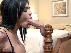 Eva Angelina sucking cock in the bedroom