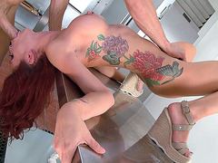 Monique Alexander deep throats his massive prick