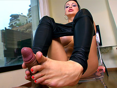 Aletta Ocean uses her feet and mouth on his cock