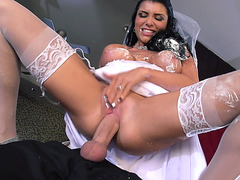 Romi Rain in a wedding dress having great fuck