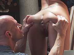 Eva Angelina lets him eat her asshole