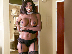 Hot MILF Diamond Jackson teasing him in a sexy black lingerie