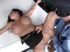 Busty mom Dayton Rains getting slammed on the car