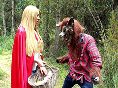 Red ridinghood Lexi Lowe caught by a bad wolf in the forest