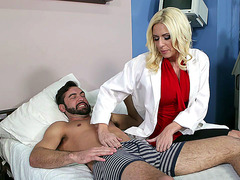 Riley Evans sucks her patient's cock