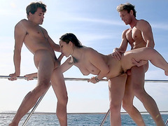 Dani Daniels getting fucked by two guys on the boat