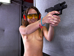 Remy LaCroix wearing nothing but g-strings work her way through some pistols