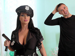 Holly Halston wearing cop uniform wants to suck his cock