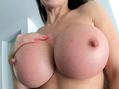 Pornstar Eva Karera demonstrates her big breast