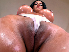 Kimberly Kendall getting her monster curves oiled