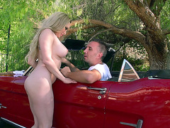 Sexy mom Aiden Starr waching her fucker's car