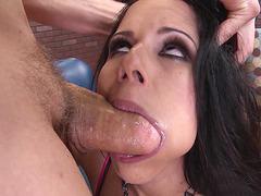 Diamond Kitty shoves huge cock deep into her throat