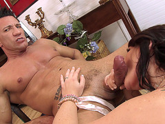 Casey Cumz sucks cock while she watches her husband fuck Nikita Von James