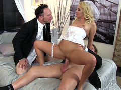 Bride Aaliyah Love jumps on a driver while her hubby's watching