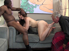 Husband must watch his wife Sarah Shevon sucking big black cock