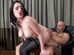 Samantha Bentley pushes down on his hard cock
