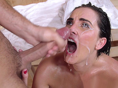 Bianca Breeze gets her pretty face creamed