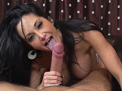 Nice looking mom Ava Addams giving great blowjob and titjob