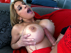 Alyssa Lynn wraps her giant tits around his boner