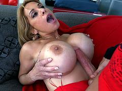 Alyssa Lynn wraps her giant tits around his boner