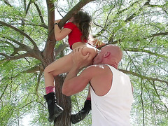 Riley Reid getting licked in the park