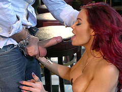 Redhead mom Ryder Skye giving him an amazing head