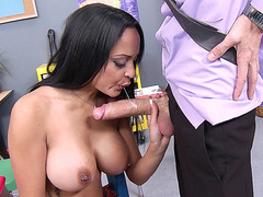 Kimberly Kendall sucking and tit fucking large pole