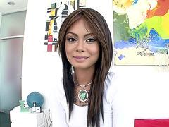 Sexy Leilani Vega talking with a cameraman