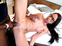Brunette hottie Raven Bay takes large black pole